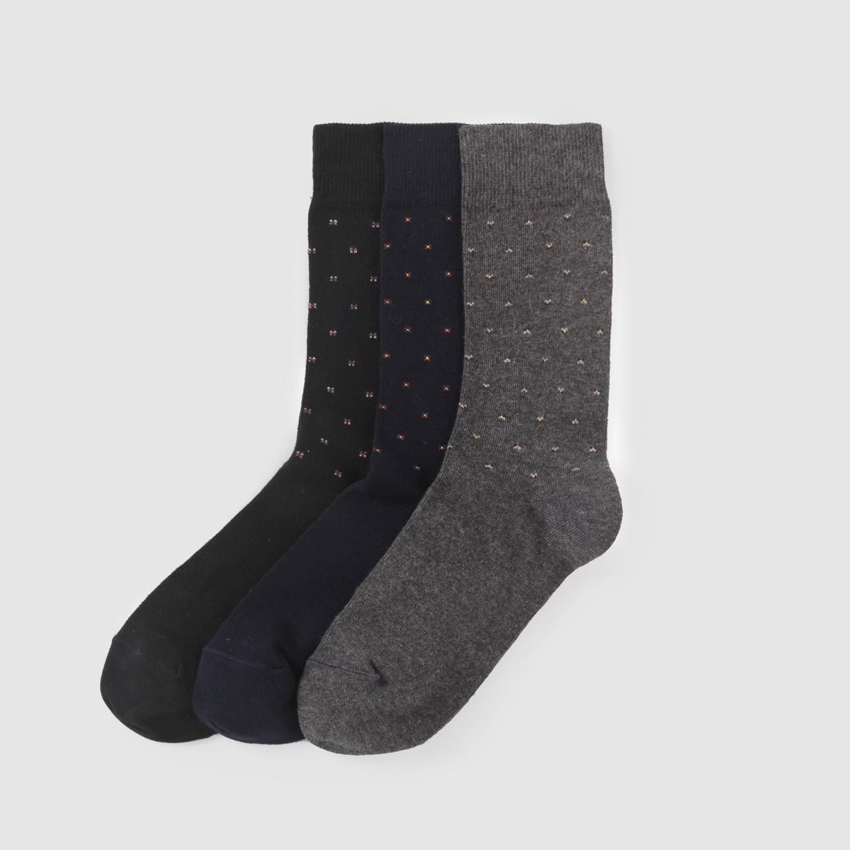 Комплект из 3 пар носковКомплект из 3 пар очень легких носков в горошек. Состав и описание Материал : 80% хлопка, 17% полиамида, 3% эластана          Марка :  R essentiel.<br><br>Цвет: синий + черный + серый<br>Размер: 43/45