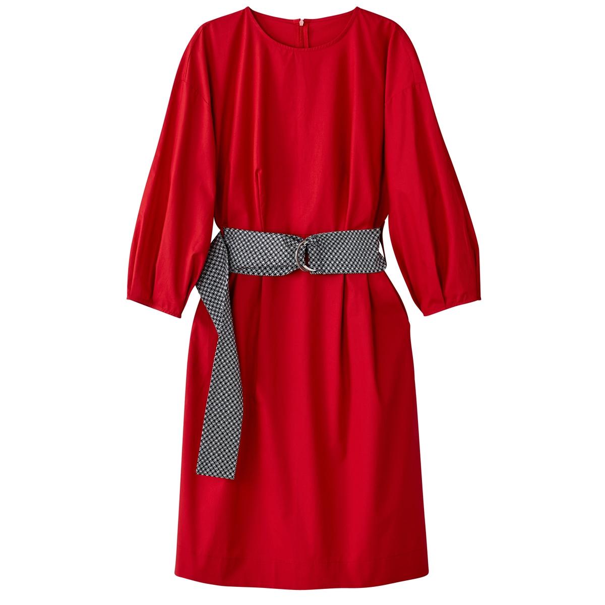Effen rechte jurk met bedrukte ceintuur
