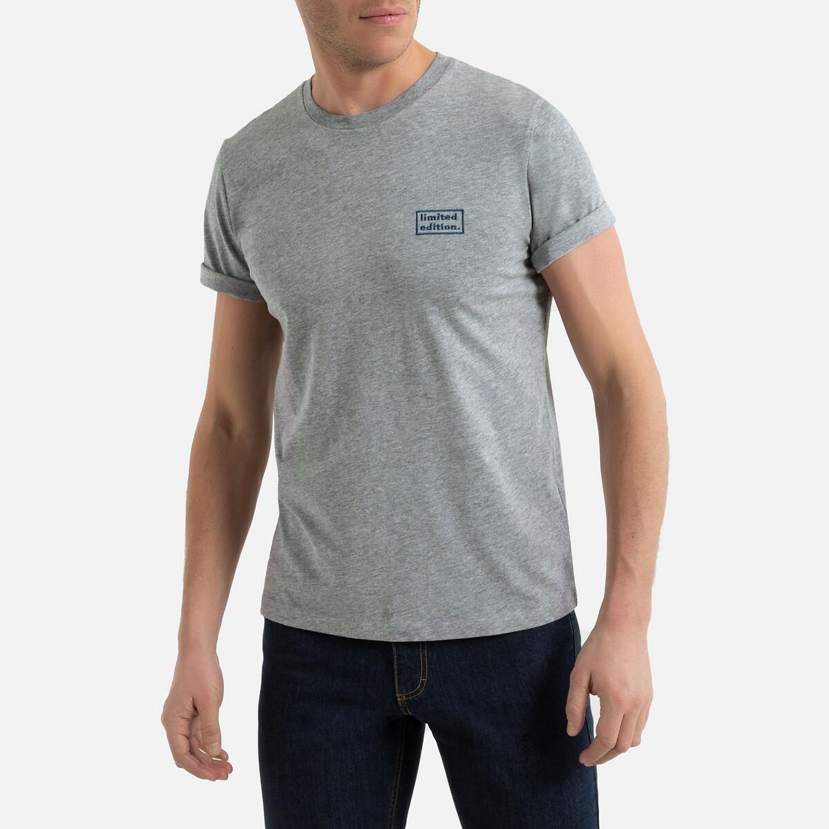 Футболка La Redoute С круглым вырезом и короткими рукавами с принтом на груди 3XL серый футболка la redoute с круглым вырезом и принтом спереди 3 года 94 см серый