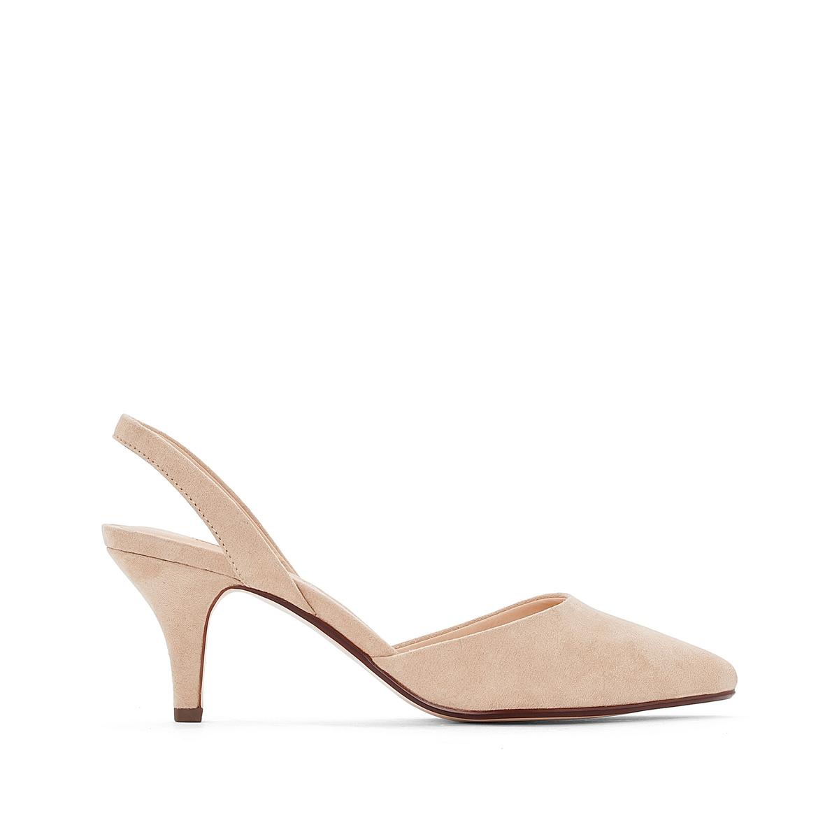 Туфли кожаные Pyra SlingВерх: полиэстер.Стелька: синтетика.Подошва: каучук.Высота каблука: 7 см.Форма каблука: шпилька.Мысок: заостренный мысок.Застежка: без застежки.<br><br>Цвет: бежевый,черный<br>Размер: 41.41