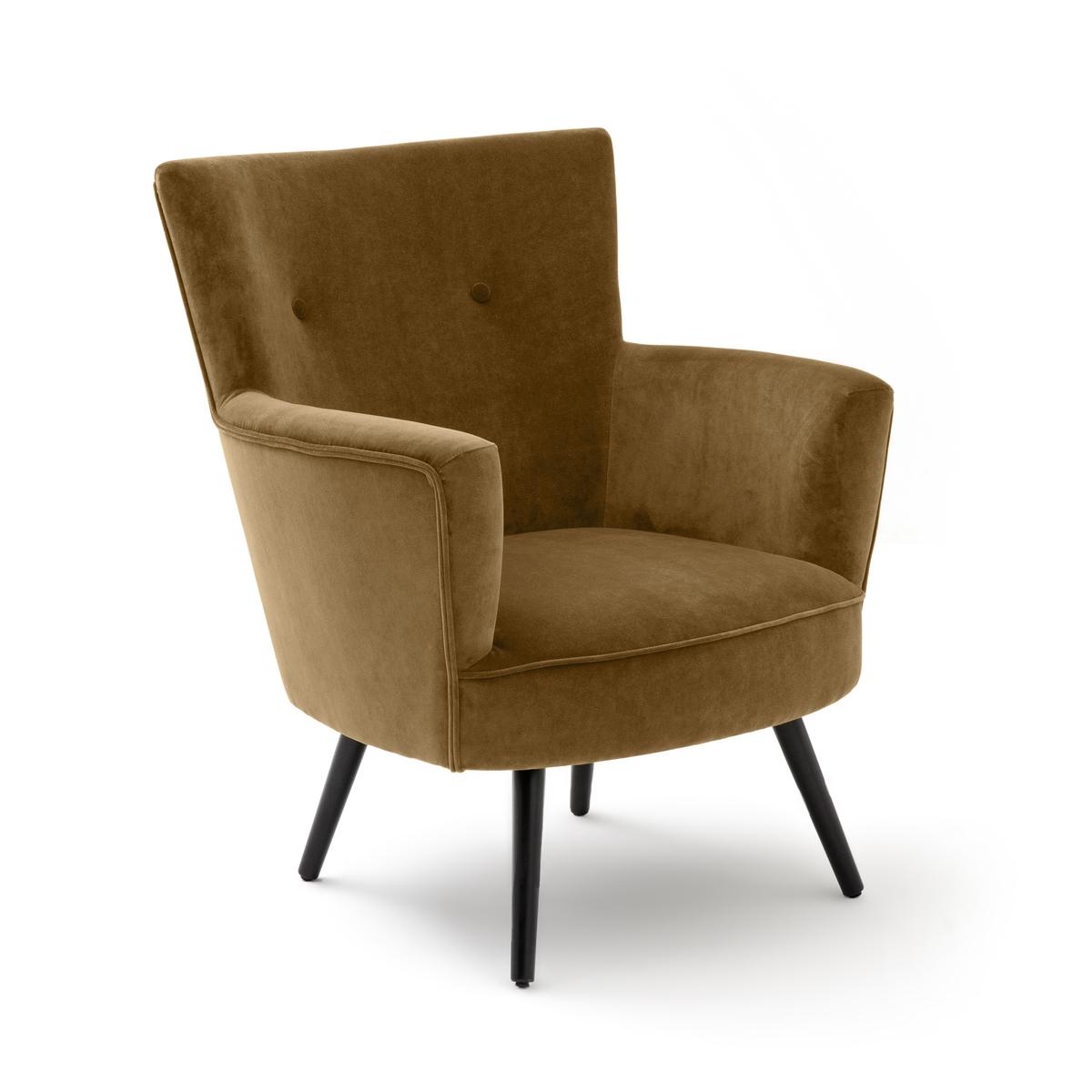 Кресло LaRedoute Велюровое William единый размер каштановый