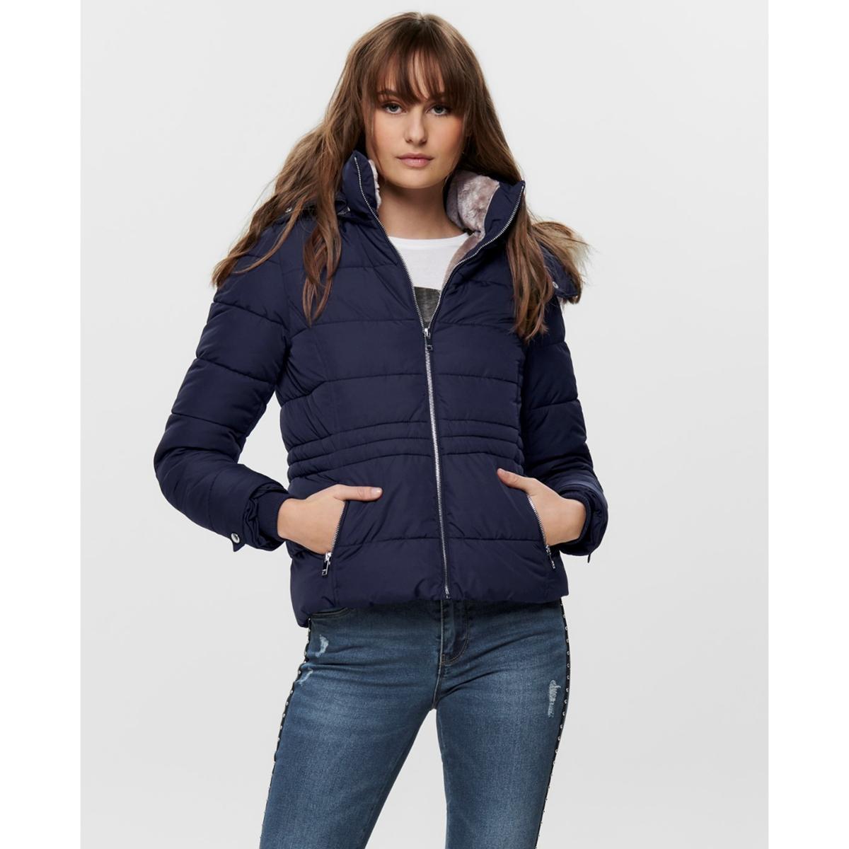 Куртка La Redoute Стеганая короткая с капюшоном и воротником из искусственного меха XS синий куртка la redoute стеганая короткая nebraska с воротником стойкой на молнии s синий