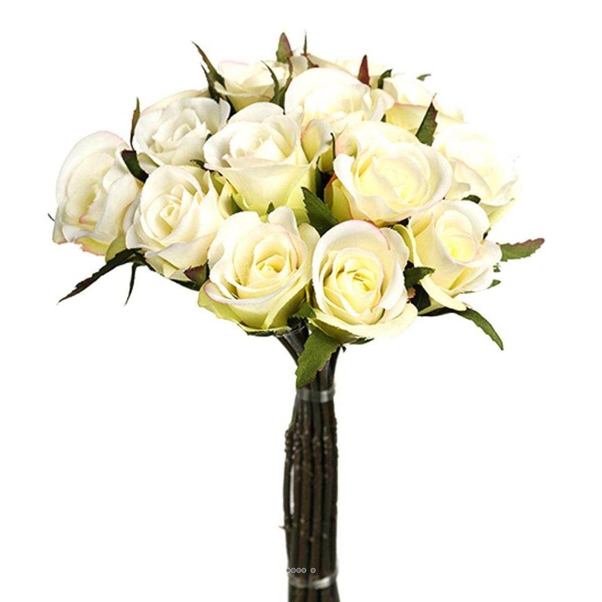 Bouquet de boutons de Roses artificiels 15 Roses Diametre 15 cm Crème - couleur: Crème