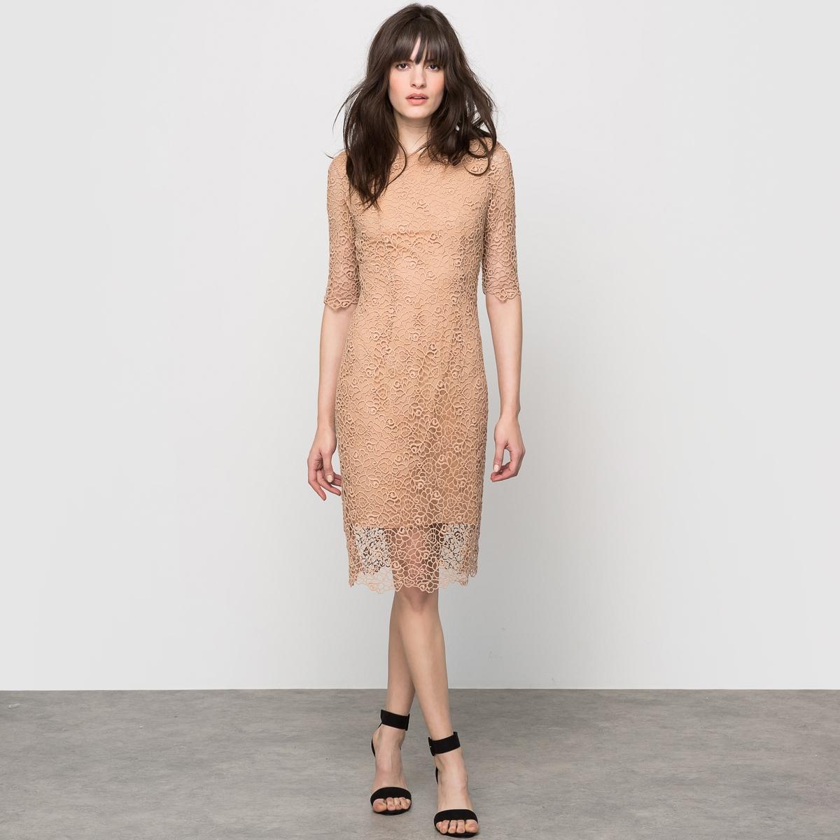 Платье гипюровое с короткими рукавамиПлатье с короткими рукавами. Платье из гипюра. Круглый вырез. Застежка на пуговицу сзади. Молния сзади. 100% хлопка. Подкладка из 100% хлопка. Длина 102 см.<br><br>Цвет: бежевый,красный,темно-синий,черный<br>Размер: 34 (FR) - 40 (RUS).34 (FR) - 40 (RUS).36 (FR) - 42 (RUS).38 (FR) - 44 (RUS).40 (FR) - 46 (RUS).38 (FR) - 44 (RUS).44 (FR) - 50 (RUS).48 (FR) - 54 (RUS).36 (FR) - 42 (RUS).36 (FR) - 42 (RUS).40 (FR) - 46 (RUS).48 (FR) - 54 (RUS)