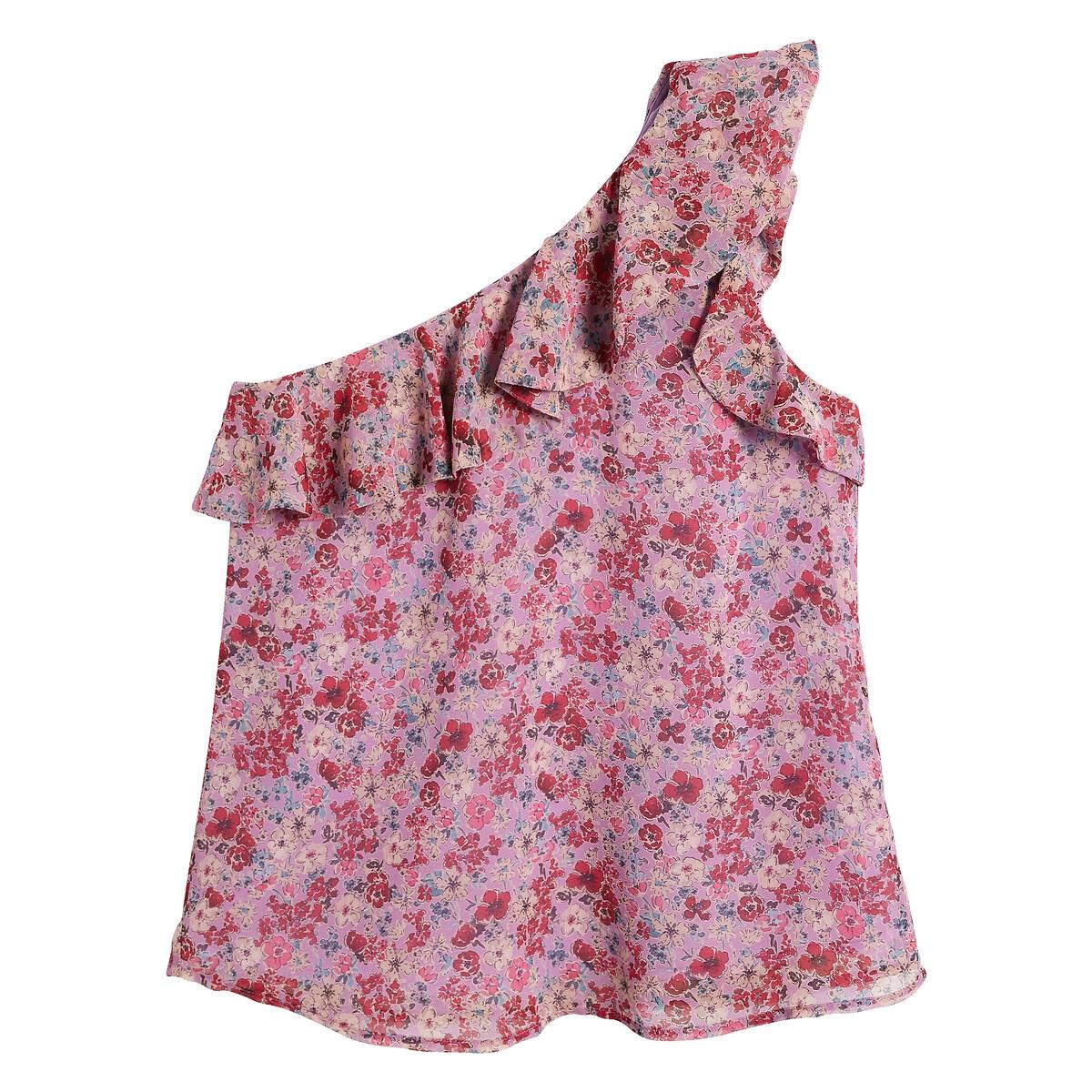 Blusa asimétrica con volante y estampado de flores