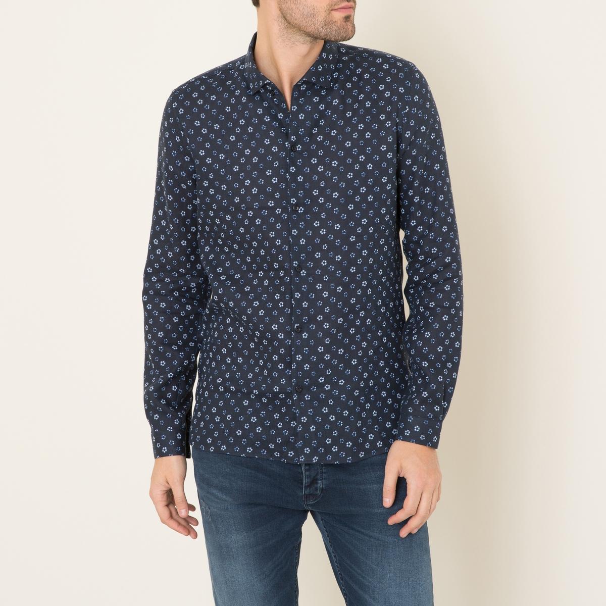 Рубашка узкая из льнаРубашка THE KOOPLES - узкий покрой со сплошным рисунком, 100% лен . Рубашечный воротник со свободными кончиками . Застежка на пуговицы. Длинные рукава, манжеты с застежкой на пуговицу. Шлицы по бокам . Состав и описание:    Материал : 100% лен   Марка : THE KOOPLES<br><br>Цвет: темно-синий