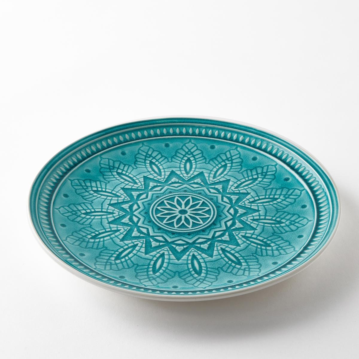 Блюдо керамическое NicolosiБлюдо Nicolosi. Эмалированная керамика с отделкой в стиле кракле . Рельефный рисунок. Подходит для посудомоечных машин. Размеры  : ?30 x В3 см.<br><br>Цвет: бирюзовый,серый