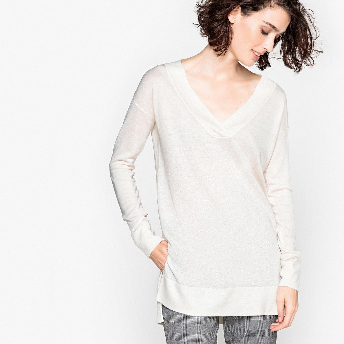 купить Пуловер с V-образным вырезом из тонкого трикотажа по цене 1199.5 рублей
