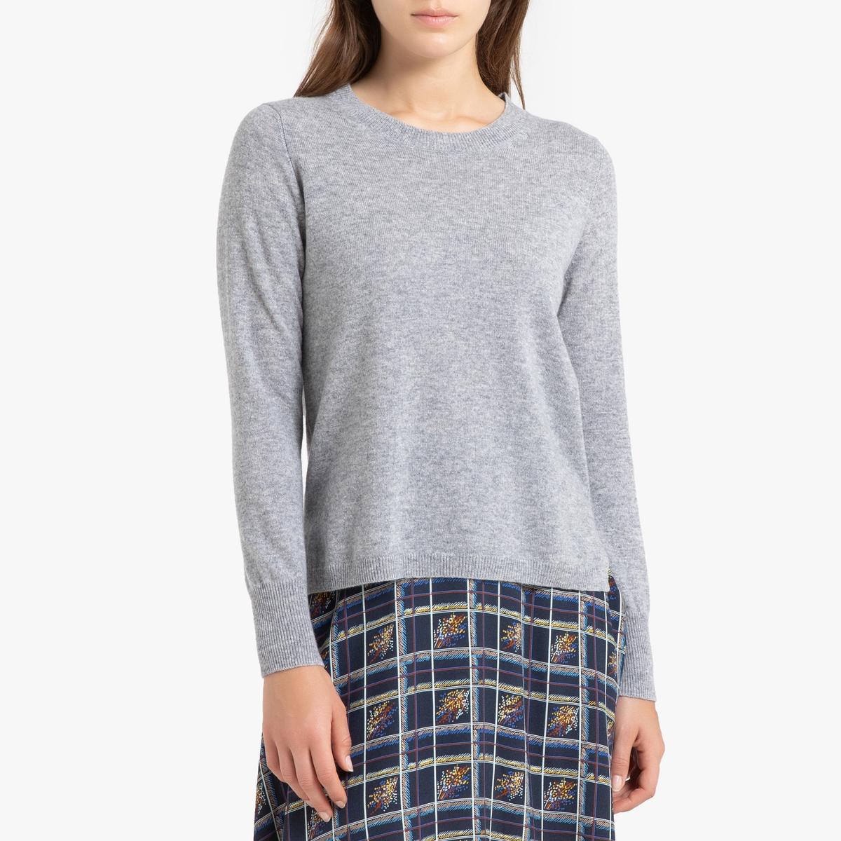 цена Пуловер La Redoute Кашемировый с круглым вырезом из тонкого трикотажа ROSE 1(S) серый онлайн в 2017 году