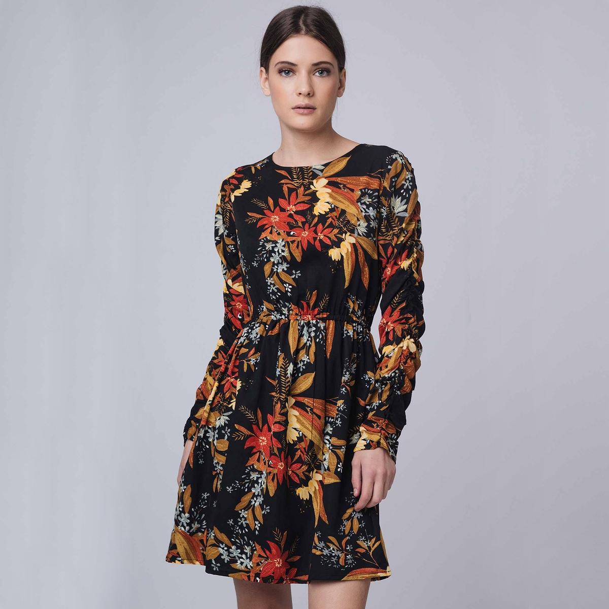 Платье с длинными рукавами, с цветочным принтом платье с цветочным принтом