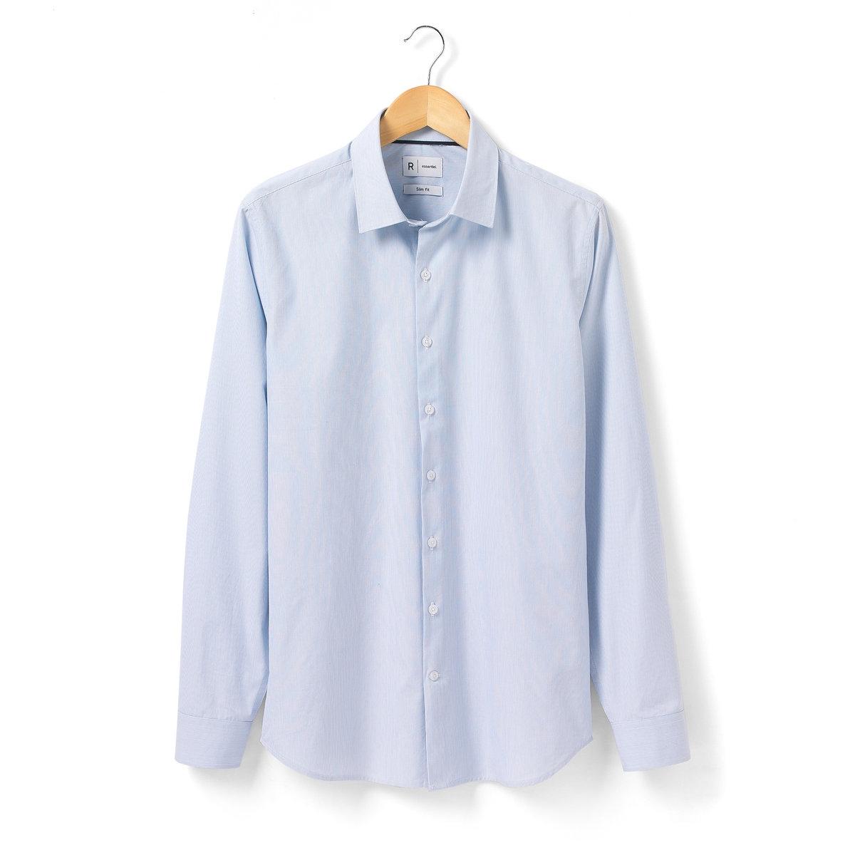 Рубашка узкого покроя с длинными рукавамиРубашка с длинными рукавами R Essentiel. Узкий покрой (облегающий).  100% хлопка. Тонкие полоски. Свободные уголки воротника с контрастной внутренней частью. Длина. 77 см.<br><br>Цвет: в полоску синий + белый