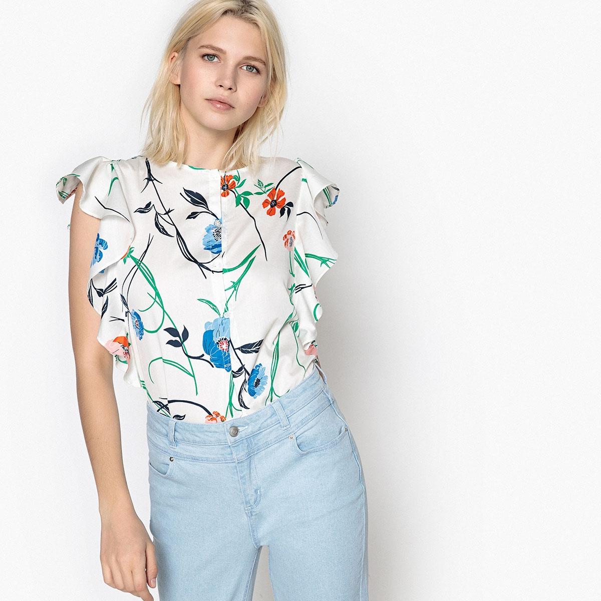Blusa de flores sin mangas con cuello redondo