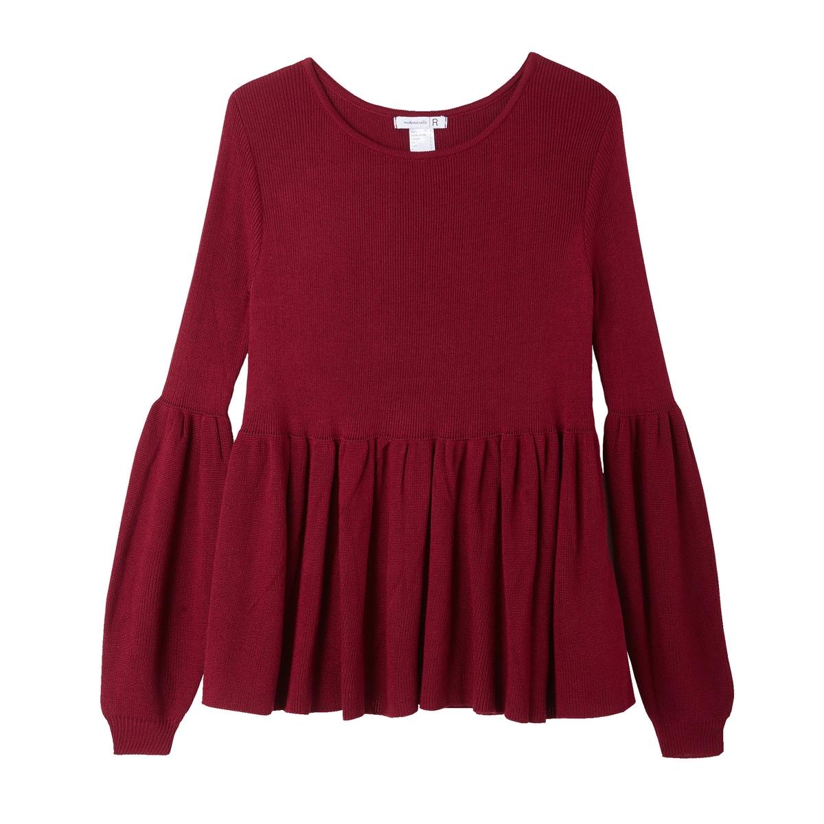 цена Пуловер La Redoute С баской и длинными широкими рукавами M красный онлайн в 2017 году
