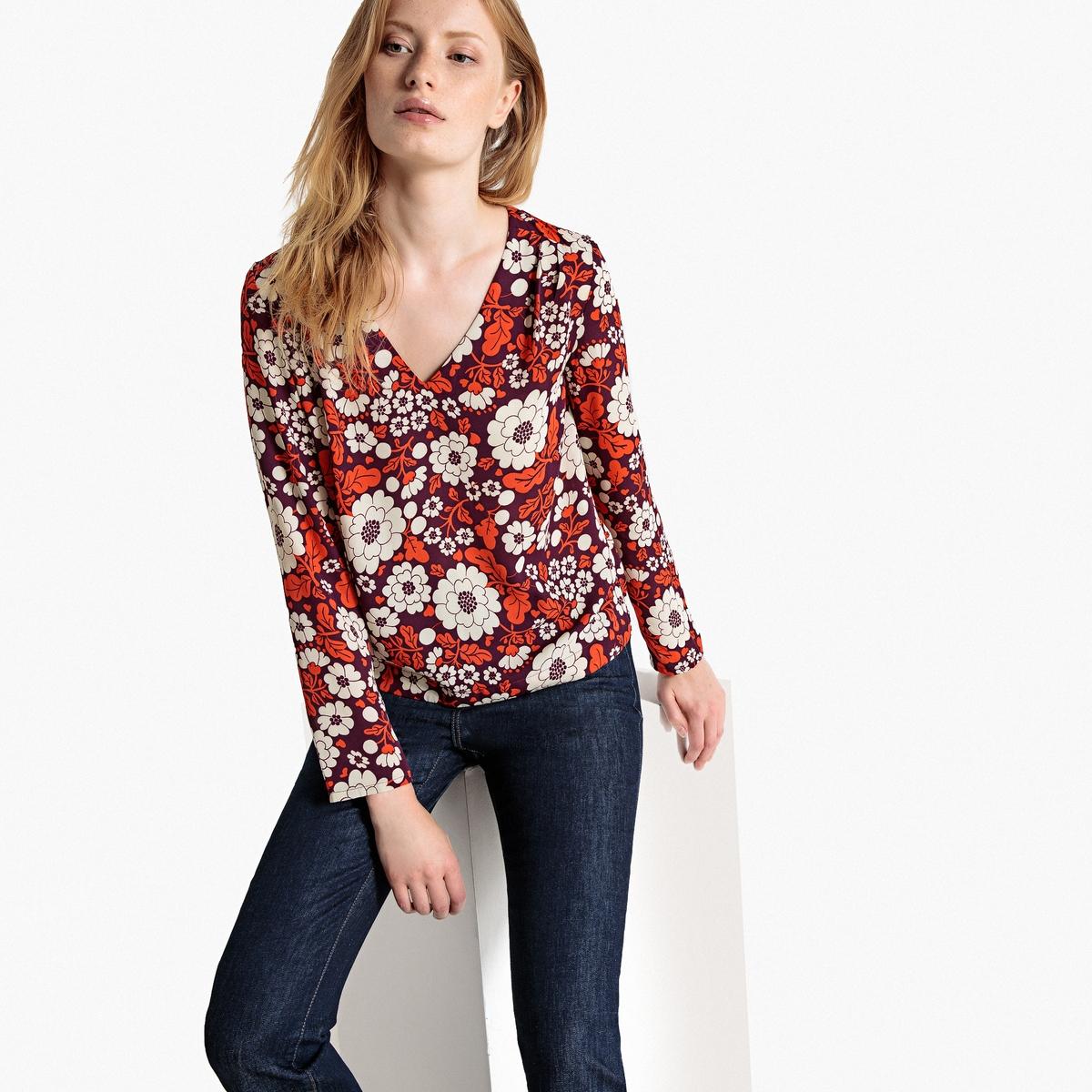 Blusa de decote em V, estampado floral, mangas compridas