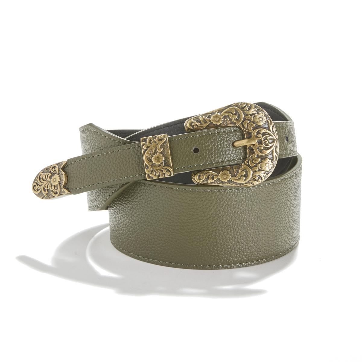 Cinturón ancho, hebilla estilo western