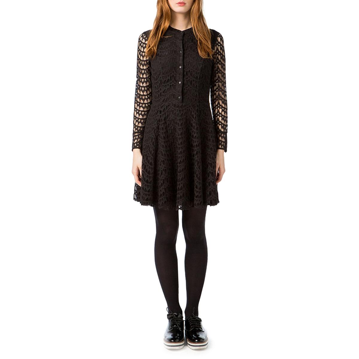 где купить Платье однотонное короткого и расклешенного покроя с длинными рукавами по лучшей цене