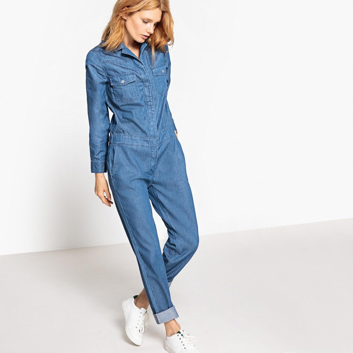 Комбинезон с брюками из денимаДетали •  Покрой слим, дудочки    Состав и уход •  100% хлопок  •  Следуйте советам по уходу, указанным на этикетке<br><br>Цвет: синий потертый<br>Размер: 42 (FR) - 48 (RUS)