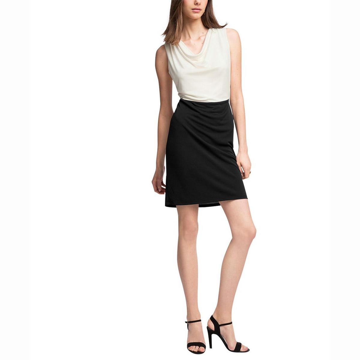 Платье двухцветное без рукавовСостав и описаниеМатериал: 100% полиэстера.Марка: ESPRITРазмеры: для размера S : длина от середины спинки ок.. 95 см (может слегка отличаться в зависимости от размера)<br><br>Цвет: экрю/черный<br>Размер: XL