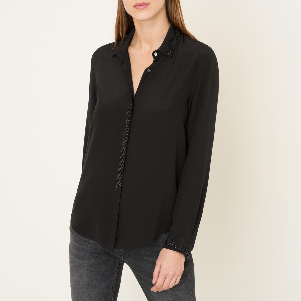 Рубашка из шелкаСостав &amp; Детали    Материал : 100% шелк.   Марка : THE KOOPLES SPORT<br><br>Цвет: черный