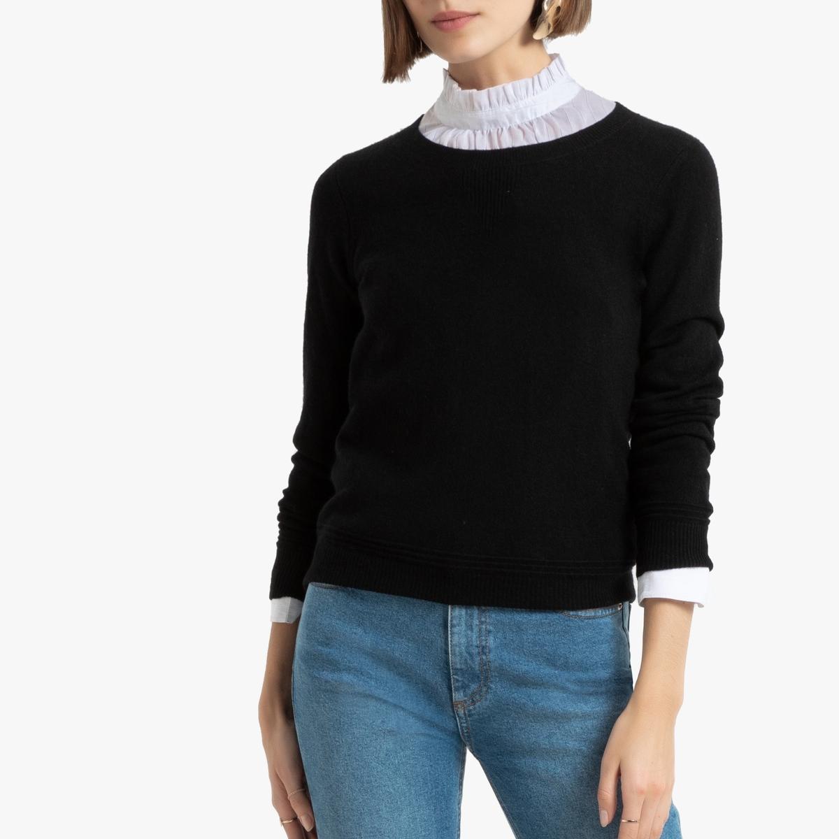 Пуловер La Redoute С круглым вырезом из кашемира XL черный