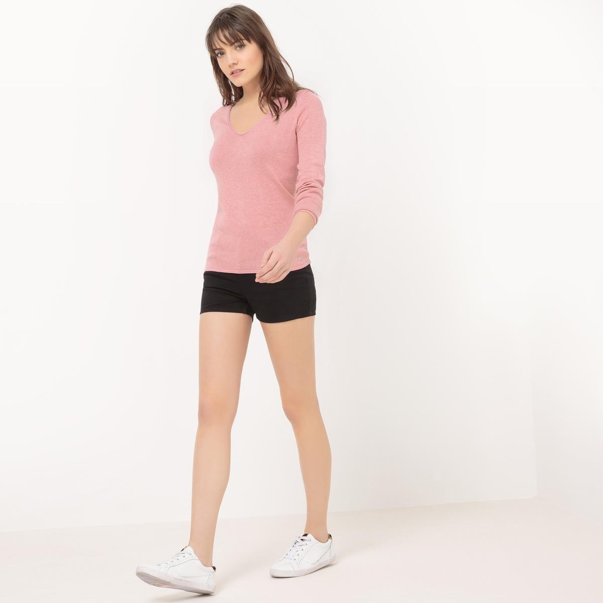 Пуловер с V-образным вырезомМатериал : 40% вискозы, 60% хлопка Длина рукава : длинные рукава Форма воротника : V-образный вырез Покрой пуловера : стандартный Рисунок : однотонная модель<br><br>Цвет: розовый<br>Размер: M