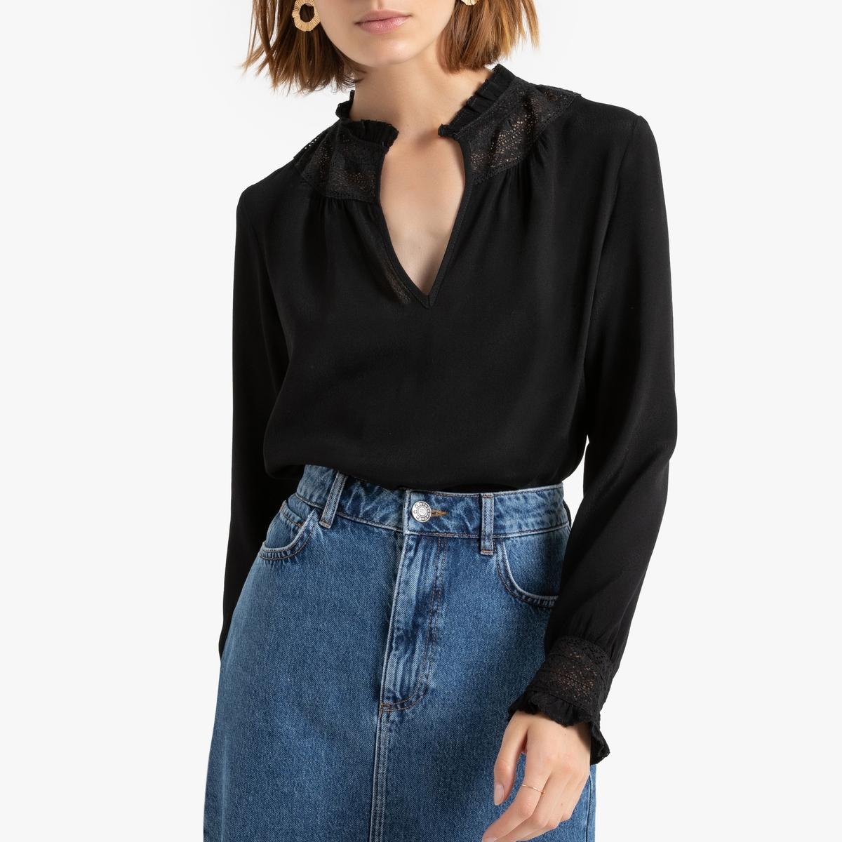 Блузка La Redoute С длинными рукавами с V-образным вырезом и кружевной вставкой 0(XS) черный футболка la redoute с длинными рукавами и v образным вырезом из кружева s черный