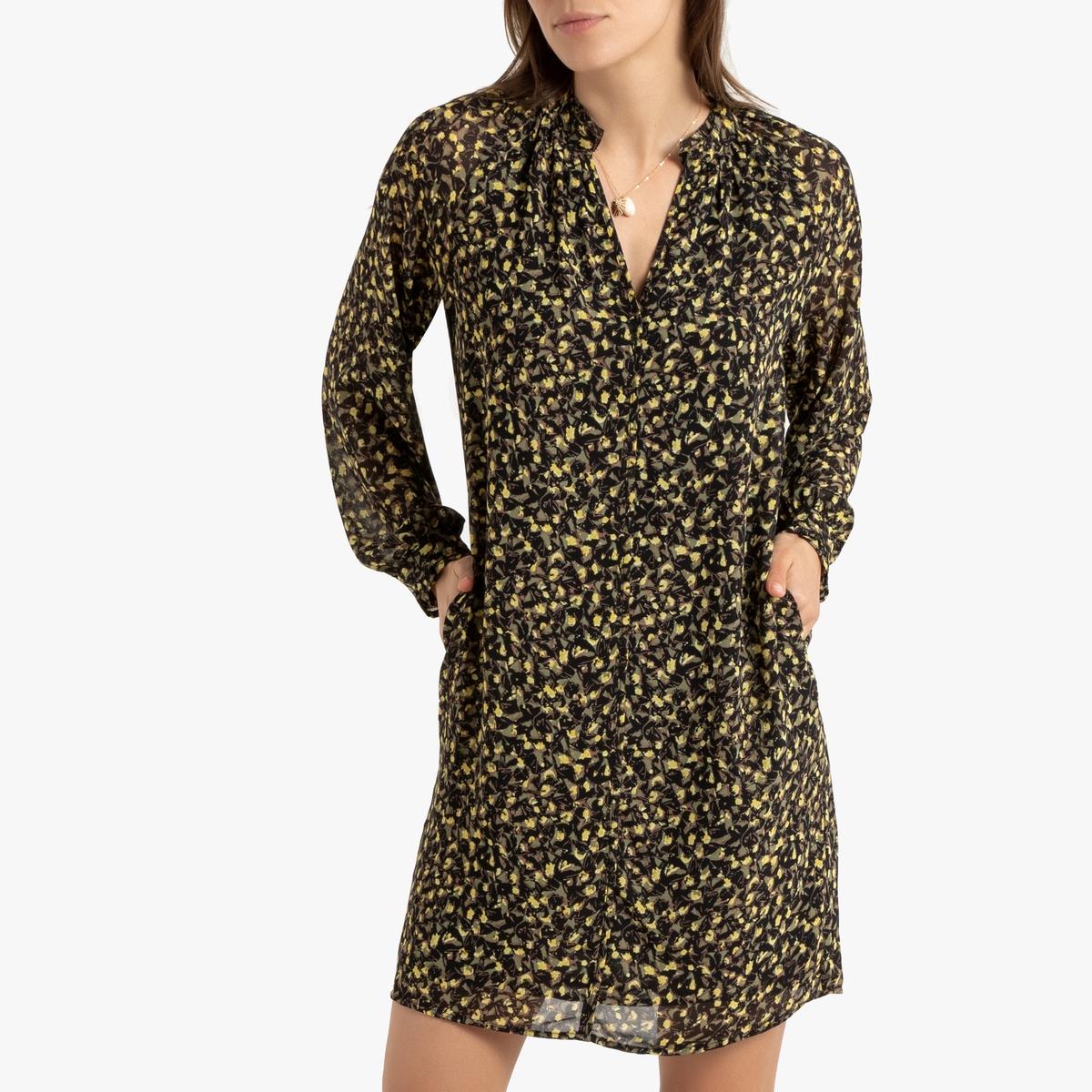 цена Платье La Redoute Короткое с длинными рукавами XS черный онлайн в 2017 году
