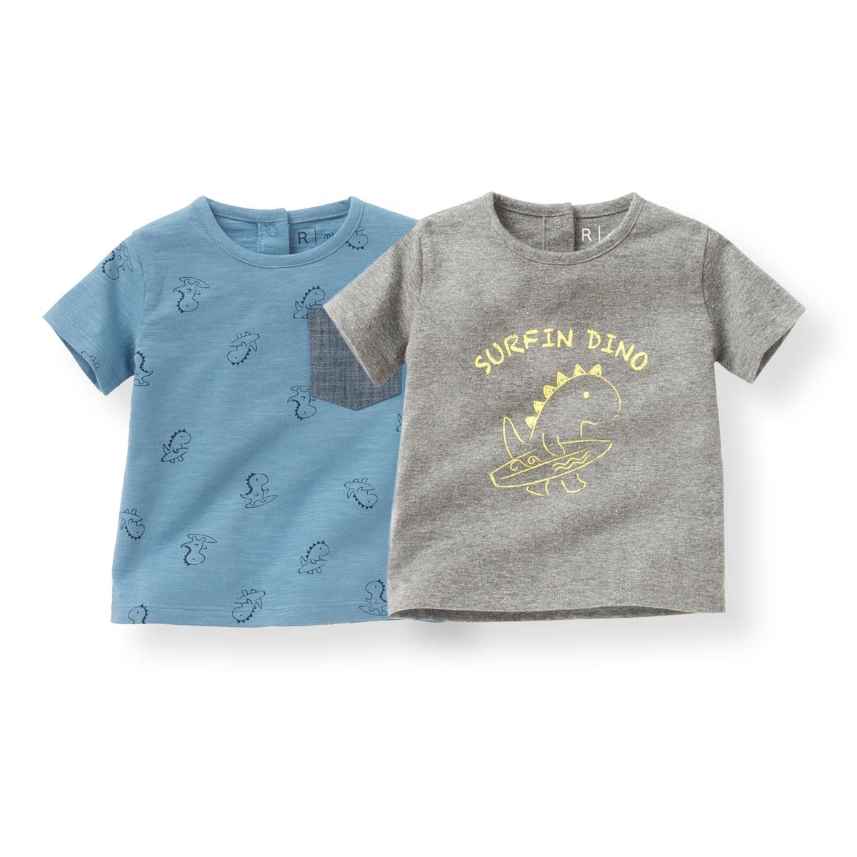 2 футболки с рисунком динозавр 1 мес-3 лет от La Redoute