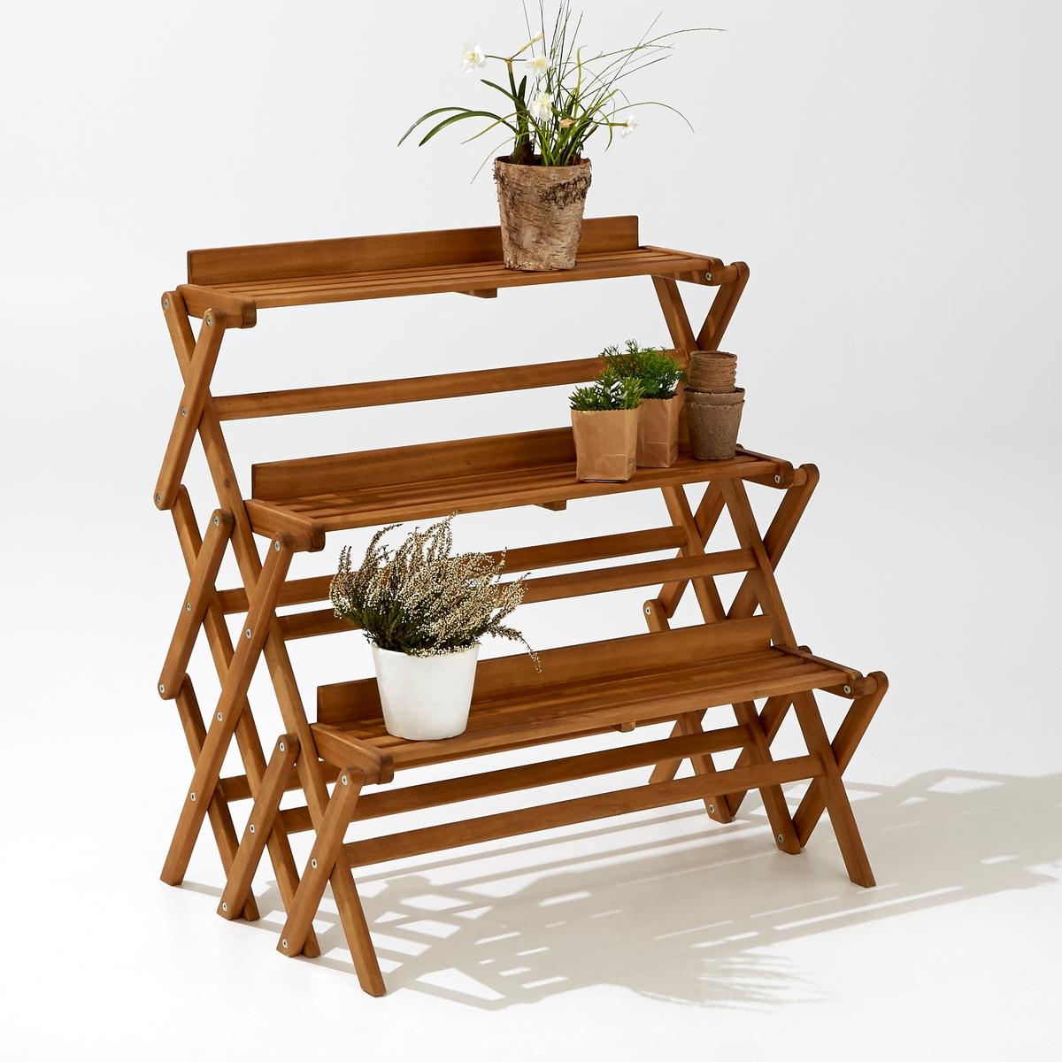 Этажерка садовая, 3-уровневая, складнаяСкладная 3-уровневая садовая этажеркаИдеальна для сада или террасы,  на этой небольшой этажерке поместятся комнатные растения и  декоративные элементы. Очень практичная, складная, легко разбирается и собирается .                      Характеристики :           Этажерка 3-уровневая     Складная Акация, цвет тикового дерева            Общие размеры :           Ширина 80 x длина  53 x высота 83 смРазмеры:Ширина 78,5 смДлина  16,6 смКачество:Акация - это дерево с отличными механическими качествами, такими как долговечность (отличная устойчивость к воздействию насекомых и грибков)и стойкость к переменам погоды(чередование засушливых и влажных периодов).Размеры и вес упаковки :           1 упаковкаШир.97 xВыс. 16 xГл. 83 см, 8,5 кг<br><br>Цвет: акация