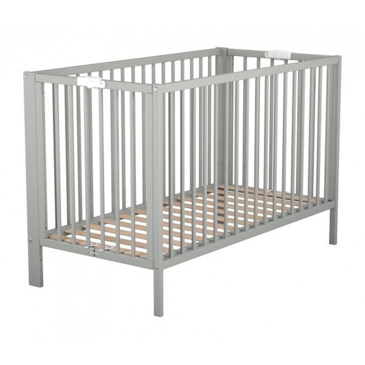 Lit bébé pliant en bois laqué gris sommier intégré à la structure