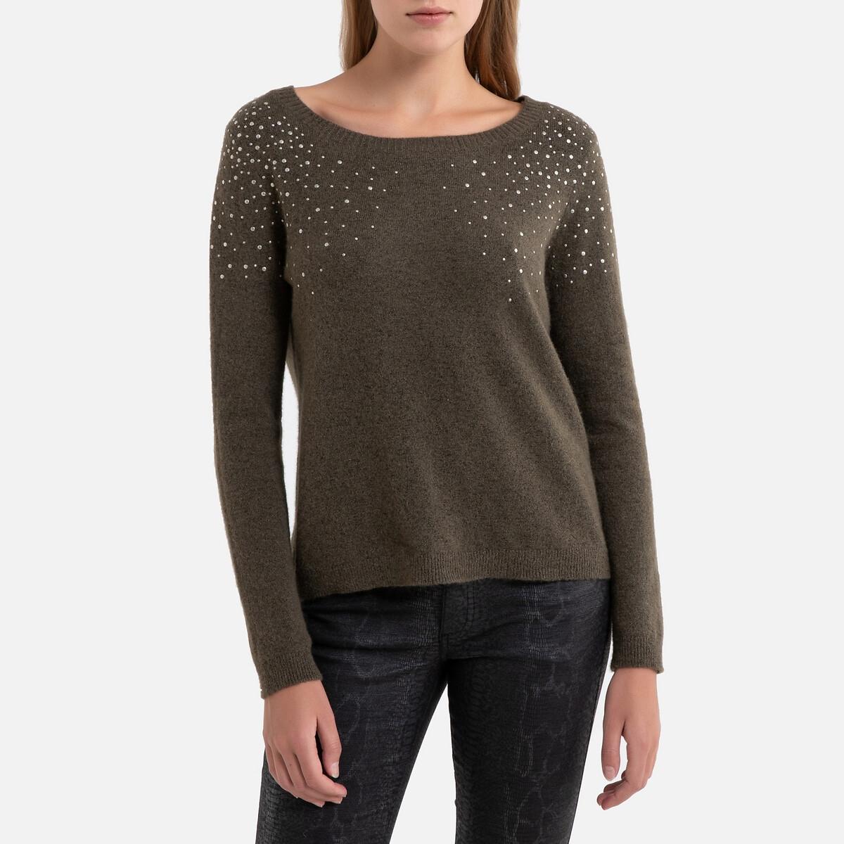 Пуловер La Redoute С круглым вырезом из тонкого трикотажа с бисером L зеленый пуловер la redoute из тонкого трикотажа со шнуровкой l бежевый