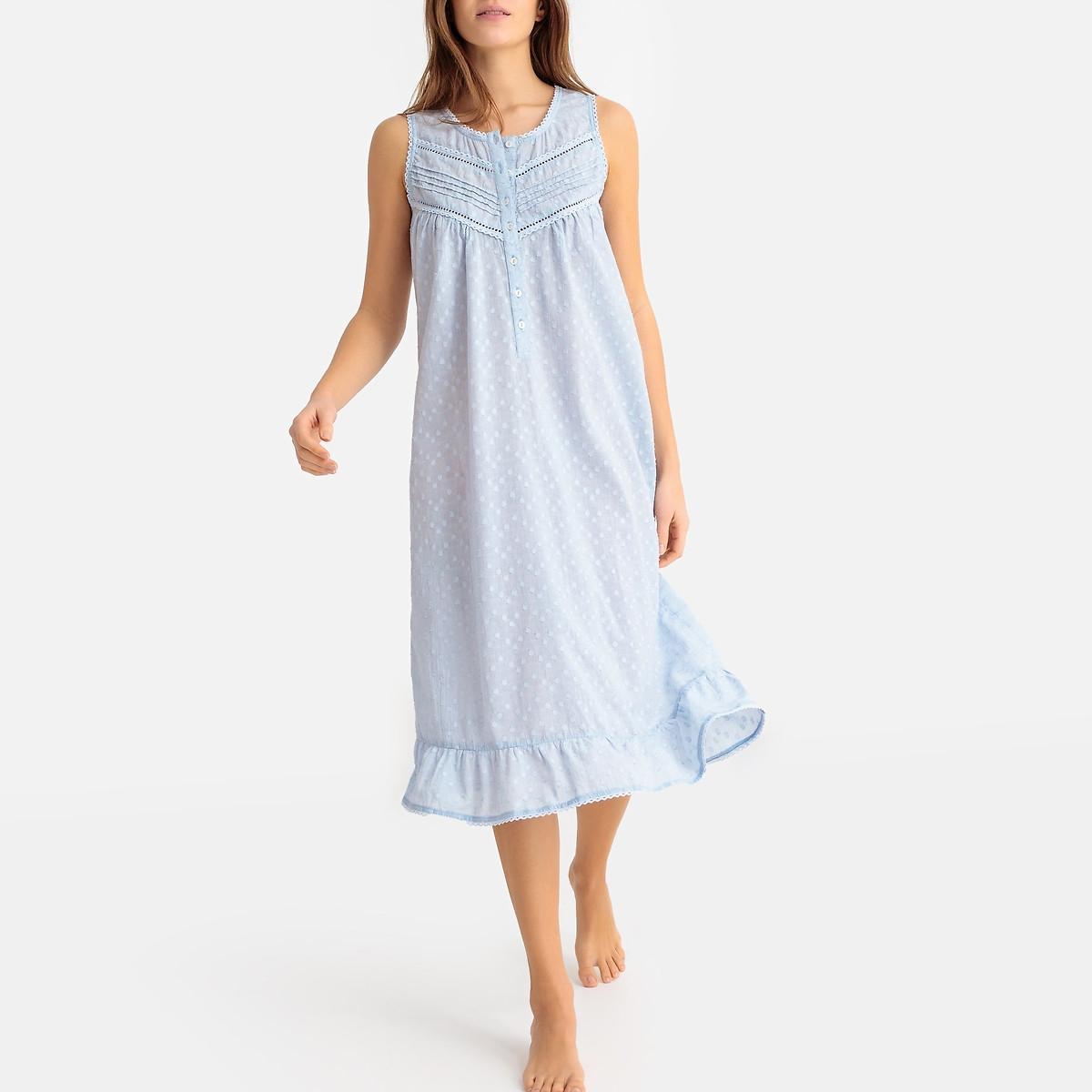 Рубашка LaRedoute Ночная с вышивкой гладью из хлопка 48 (FR) - 54 (RUS) синий