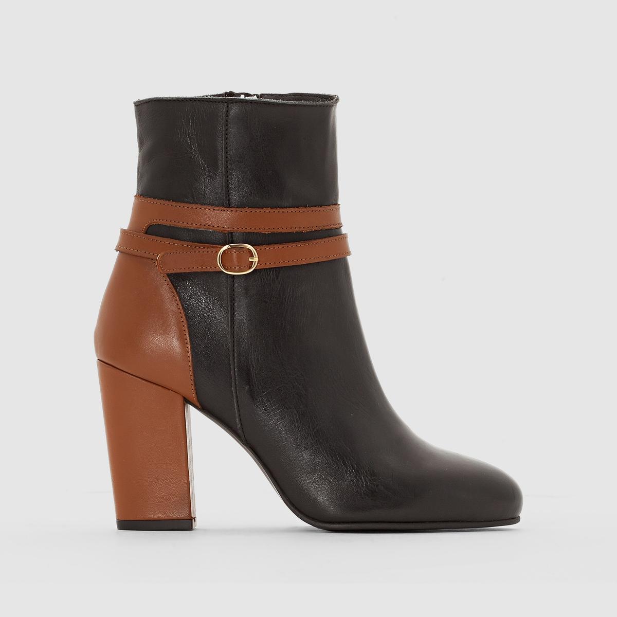 Ботильоны на каблукеМарка : CASTALUNAПодходит : для широкой стопы.Верх : яловичная кожа.Стелька : кожа.Подошва : из эластомера.Каблук : 10 см.Застежка : длинная внутренняя молния.Преимущества : Шикарный и изящный стиль, очень высокий каблук.<br><br>Цвет: черный<br>Размер: 38.39.44