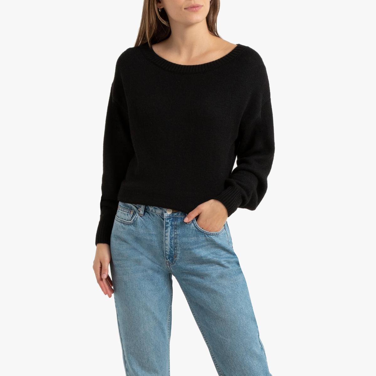 Пуловер La Redoute С круглым вырезом и напускными рукавами S черный пуловер la redoute с круглым вырезом из шерсти мериноса pascal 3xl черный