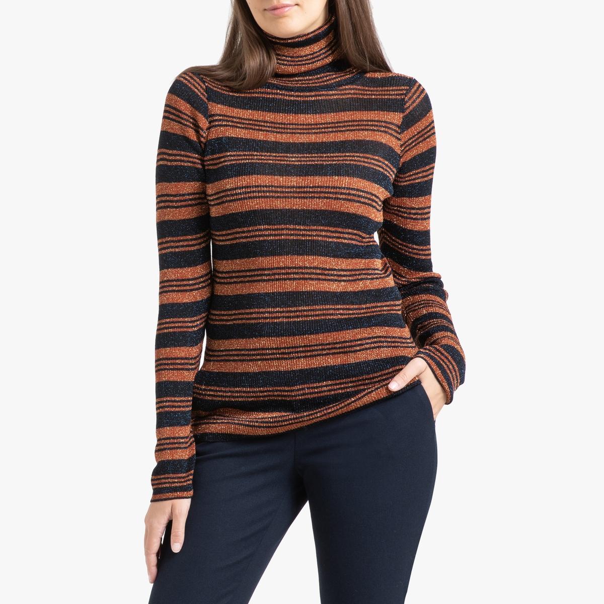 Пуловер La Redoute В полоску с отворачивающимся воротником из тонкого блестящего трикотажа NUMBIA XS оранжевый пуловер из блестящего трикотажа 3 12 лет