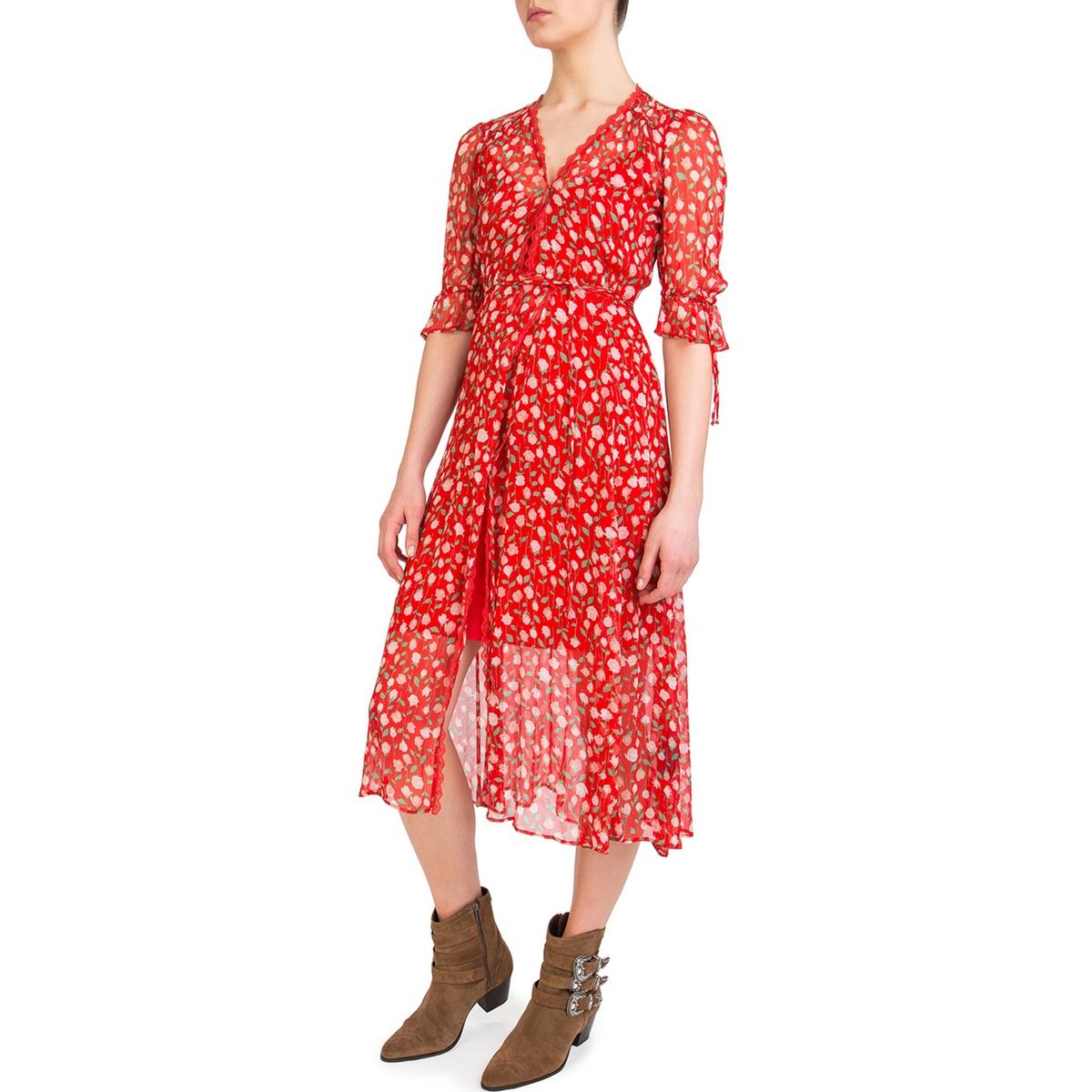 Платье-миди с запахом с рисункомОписание:Платье с длинными рукавами THE KOOPLES. Ткань с рисунком, форма с запахом. Отделка кружевом.Детали •  Форма : с запахом •  Длина до колен •  Длинные рукава    •   V-образный вырез •  Рисунок-принтСостав и уход •  100% вискоза •  Подкладка : 100% полиэстер •  Вторичный материал : 100% полиэстер •  Следуйте рекомендациям по уходу, указанным на этикетке изделия<br><br>Цвет: наб. рисунок красный