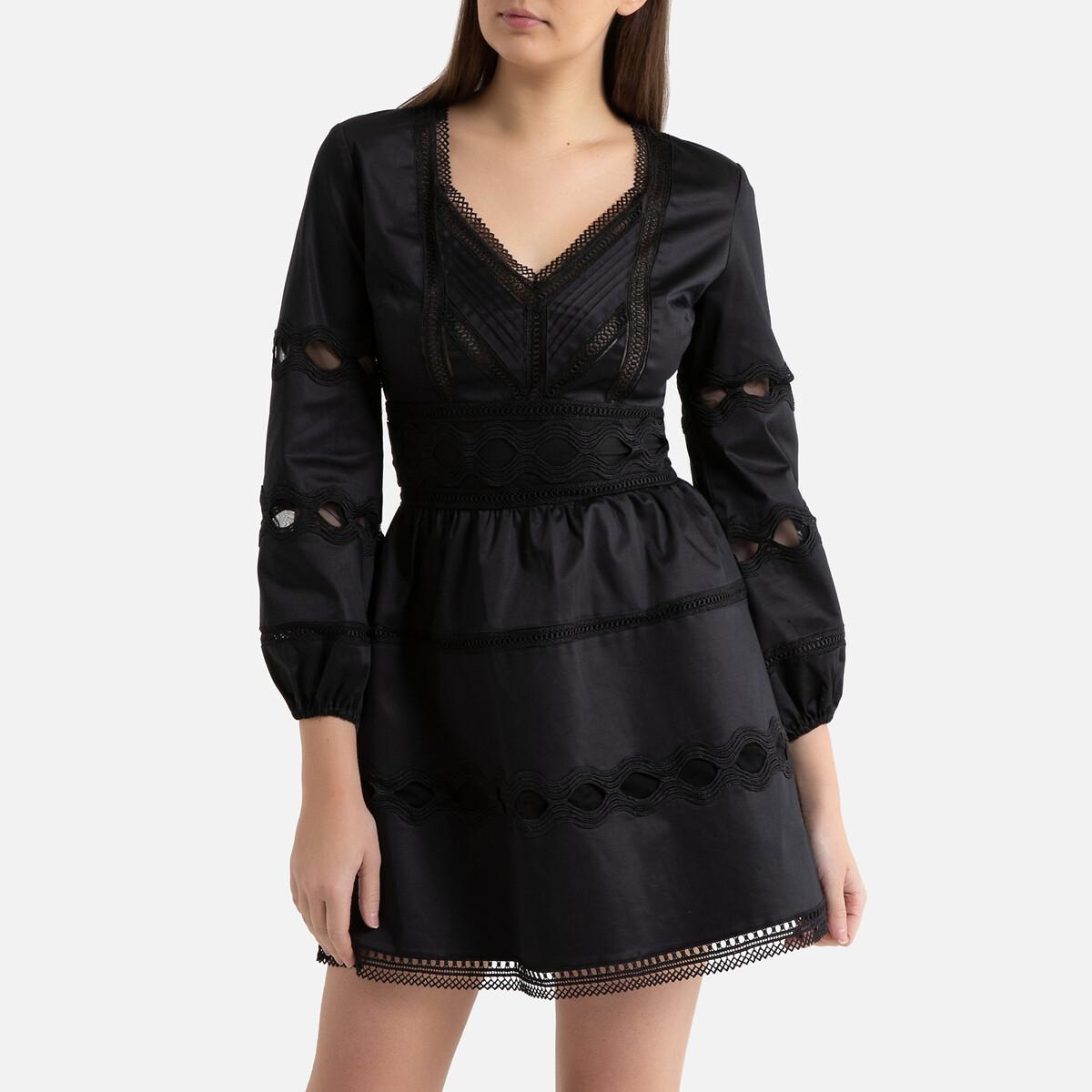 Платье La Redoute Короткое расклешенное ажурное 2(M) черный