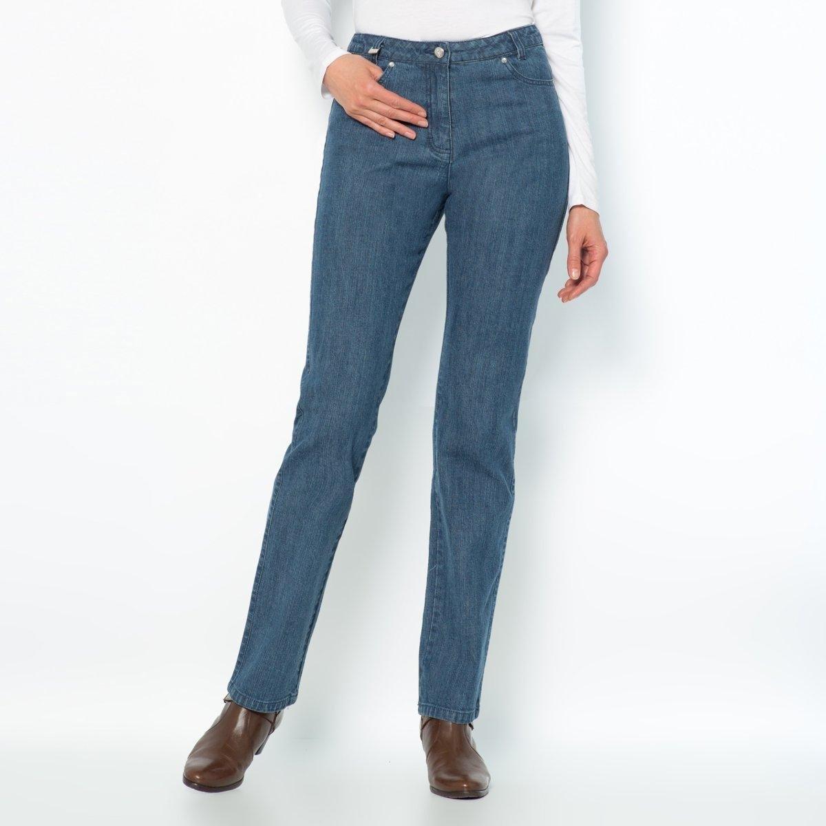 Джинсы из стретч денима, длина по внутр. шву 78 смКлассические джинсы: настоящие пятикарманные, сзади украшены стразами. Талия слегка занижена. Пуговица из металла, украшена стразами, застежка на молнию спереди. Сзади: карманы со строчкой из страз, на одном инициалы AW на поясе нашивка имитация кожи. Длина по внутр. шву 78 см, при росте менее 1,65 м.Состав и описание:Материал: Деним стретч: 99% хлопка, 1% эластана LYCRA®.Длина по внутр.шву: 78 см, ширина по низу: 20 см.Марка: Anne Weyburn.Уход:Машинная стирка при 30 °C на умеренном режиме, с изнанки.Гладить при средней температуре, с изнанки.<br><br>Цвет: синий потертый,темно-синий