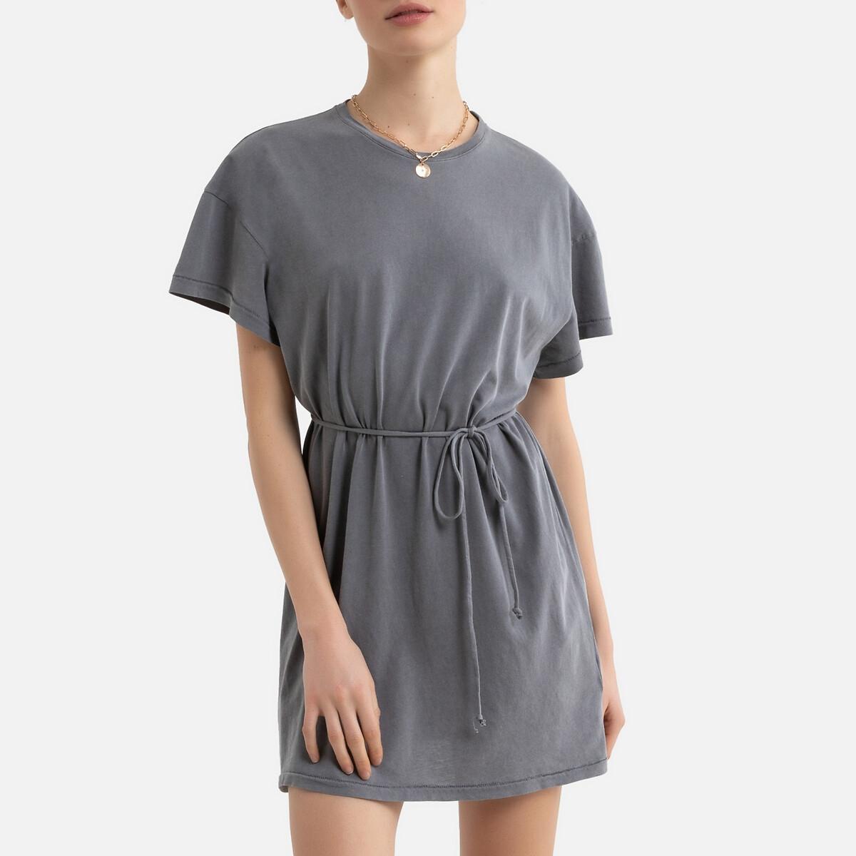 Платье LaRedoute С короткими рукавами из биохлопка VEGIFLOWER M серый футболка laredoute из биохлопка с короткими рукавами vegiflower m зеленый