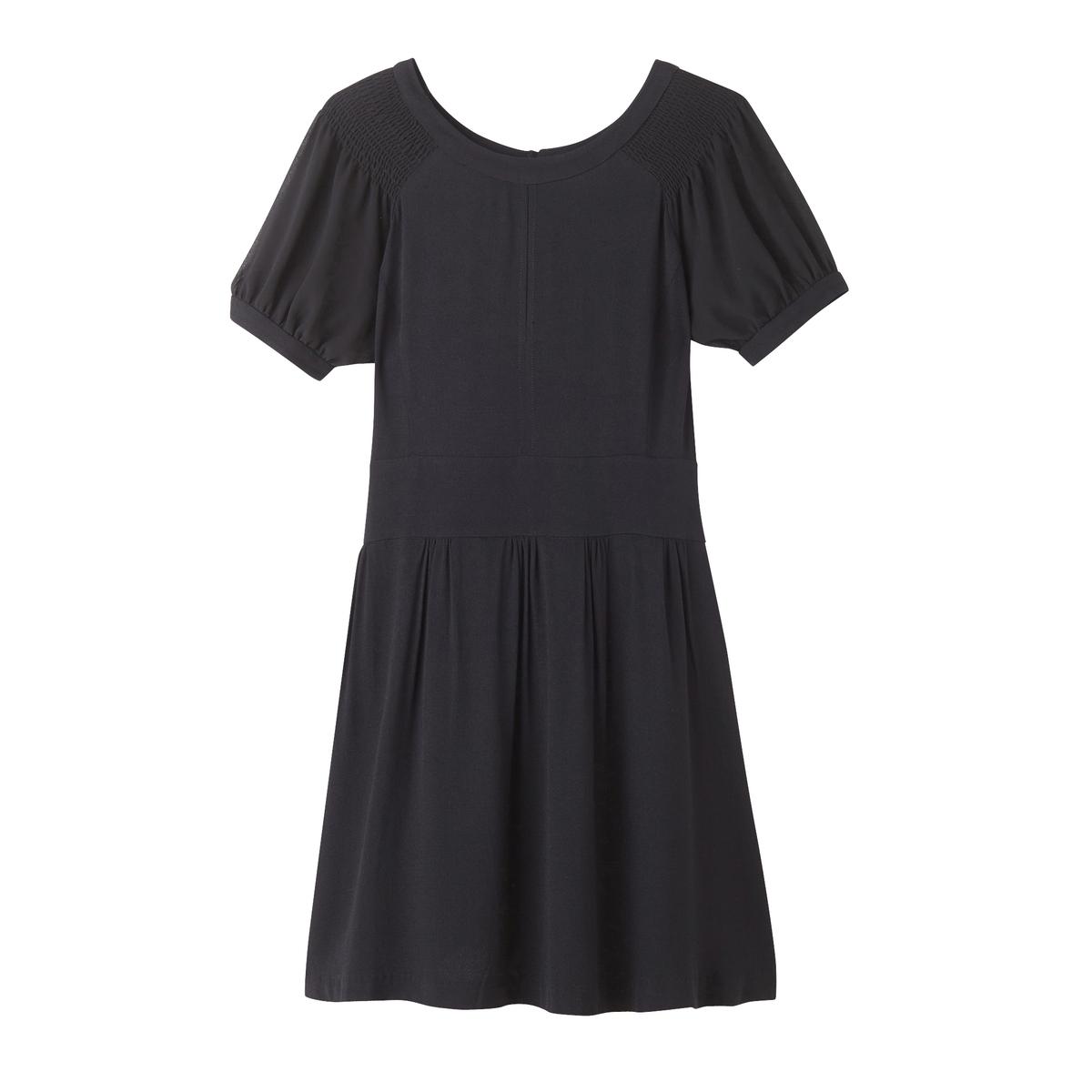 Платье с поясом и застежкой сзадиДетали  •  Форма : МИНИ •  Укороченная модель •  Короткие рукава    •  Круглый вырезСостав и уход  •  100% вискоза •  Следуйте советам по уходу, указанным на этикетке<br><br>Цвет: черный<br>Размер: XS.S.L.M