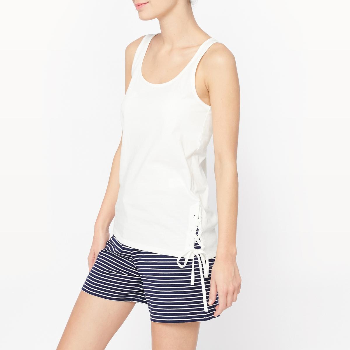 Пижама с шортами из хлопкаСостав и описание :Материал : 100% хлопокДлина : футболка 62 см.Длина по внутр.шву : 6 смУход :Машинная стирка при 40°С.Стирать с вещами схожих цветов.Гладить с изнаночной стороны.<br><br>Цвет: белый + темно-синий<br>Размер: 34/36 (FR) - 40/42 (RUS).38/40 (FR) - 44/46 (RUS).42/44 (FR) - 48/50 (RUS)