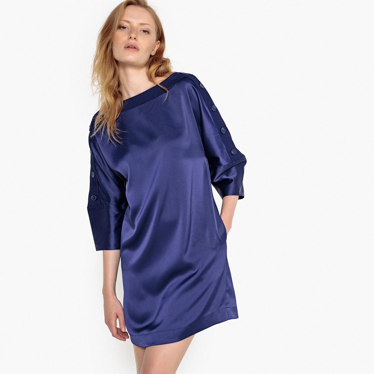 Платье La Redoute Короткое блестящее с оригинальными пуговицами на рукавах 36 (FR) - 42 (RUS) синий цены
