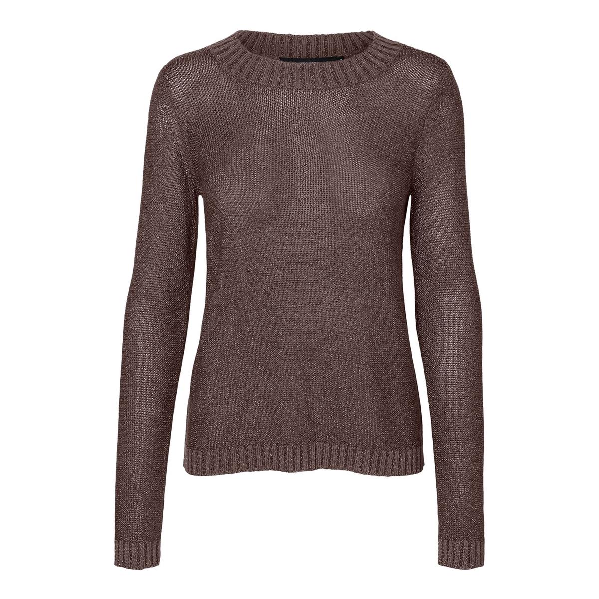 Пуловер La Redoute С круглым вырезом с волокнами с металлическим блеском M каштановый цены