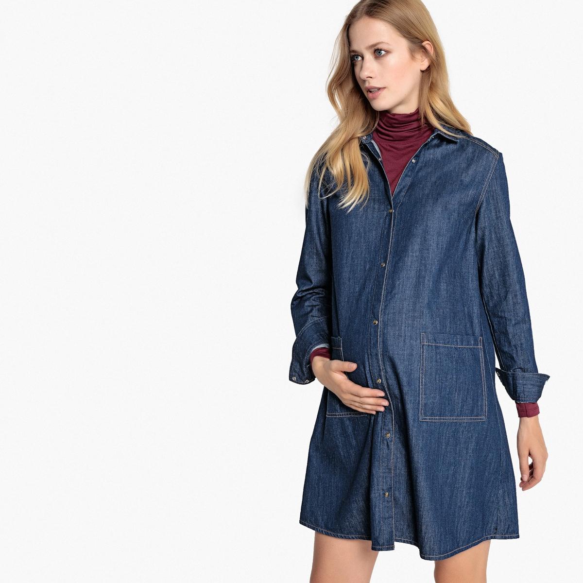 Платье La Redoute Из денима для периода беременности 36 (FR) - 42 (RUS) синий платье la redoute из трикотажа для периода беременности s другие