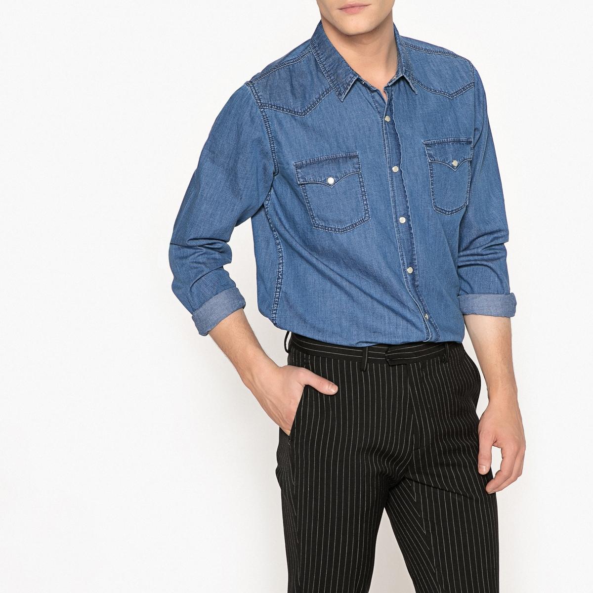 Рубашка джинсовая прямого покрояОписание:Детали •  Длинные рукава •  Прямой покрой • Классический воротникСостав и уход •  100% хлопок •  Температура стирки 30° •  Сухая чистка и отбеливание запрещены •  Не использовать барабанную сушку • Средняя температура глажки  •  Длина : 77 см<br><br>Цвет: синий потертый
