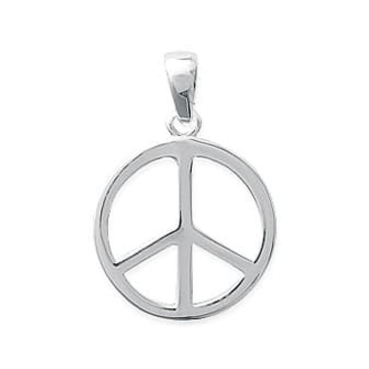 Pendentif Symbole Peace and Love Paix Amour Argent 925 Rhodié