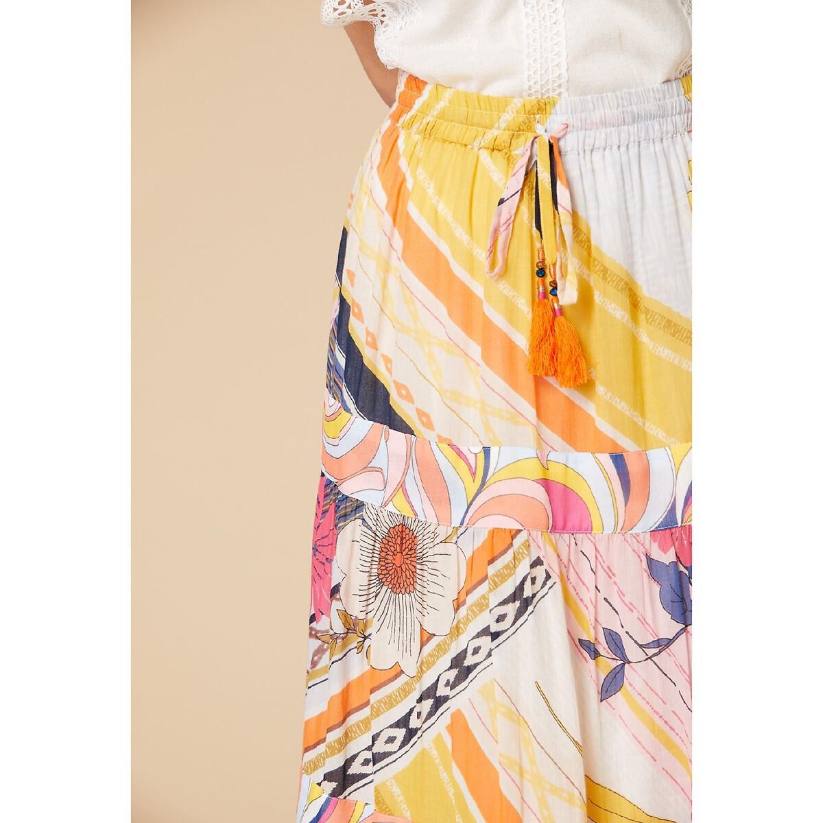 Юбка La Redoute Длинная с цветочным рисунком и оборками M желтый юбка la redoute короткая расклешенная с цветочным рисунком и оборками на поясе xs бежевый