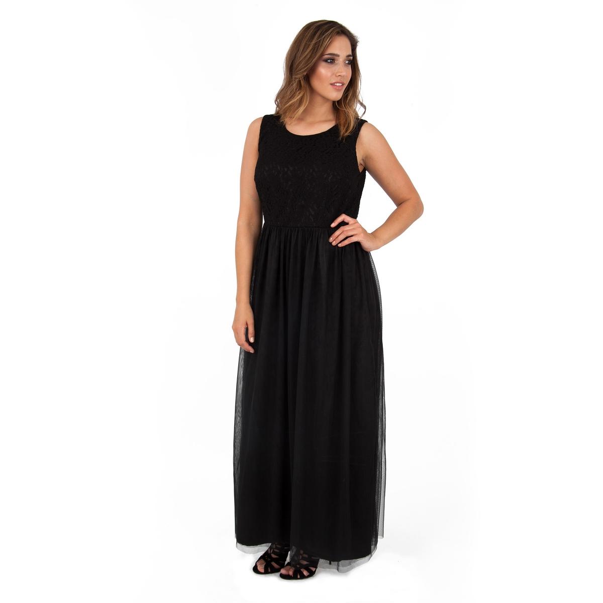 Платье длинноеПлатье длинное без рукавов - KOKO BY KOKO. Элегантное платье макси с отделкой кружевом сверху. Застежка на молнию сзади. 100% полиэстера.<br><br>Цвет: черный<br>Размер: 50/52 (FR) - 56/58 (RUS).48 (FR) - 54 (RUS)