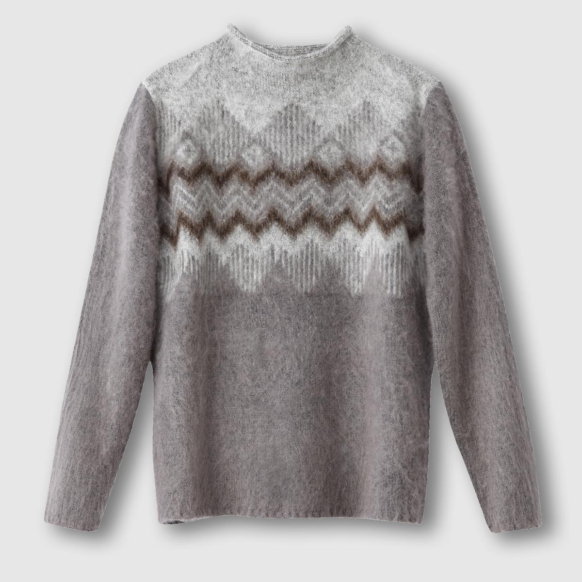 Пуловер с отворачивающимся воротником OTINE SWEATERСостав и описание :Материал : 58% акрила, 32% полиэстера, 100% шерсти Марка : B.YOUNG<br><br>Цвет: антрацит/меланж