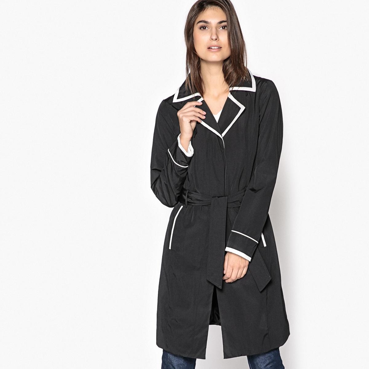 Zweifarbiger Trenchcoat| Teflon-Faserschutz | Bekleidung > Mäntel > Trenchcoats | Schwarz | Baumwolle - Polyester | ANNE WEYBURN